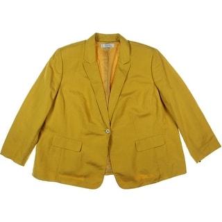 Tahari ASL Womens Plus Galina Linen Blend Notch Collar One-Button Blazer - 24W