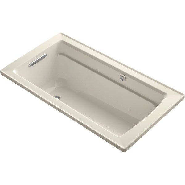"""Kohler K-1122-GHW Archer 60"""" Drop In Acrylic Air Tub with Reversible Drain and Overflow - Comfort Depth Design and Bask Heated"""
