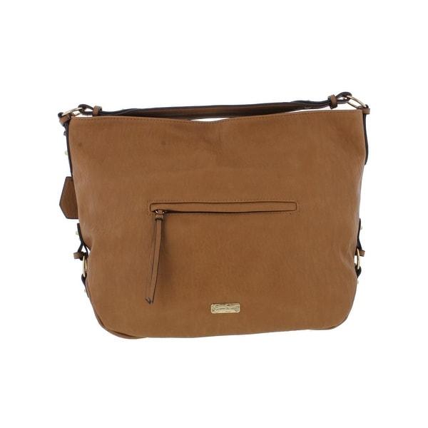 Jessica Simpson Womens Roxanne Hobo Handbag Faux Leather Logo - LARGE