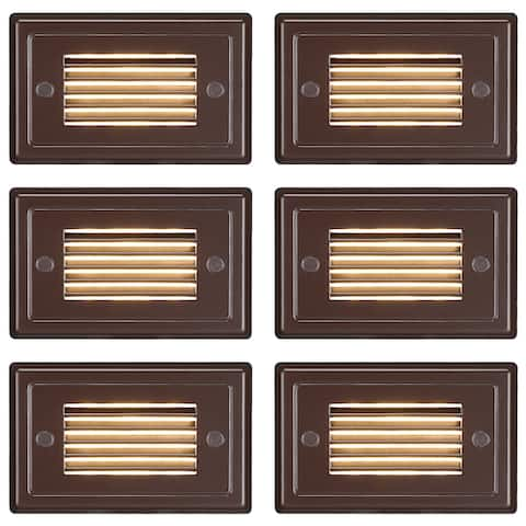 Low Voltage Horizontal Louvered Step Light, Oil Rubbed Bronze - 6PACK