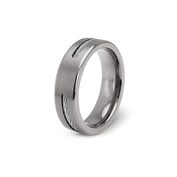 6.5mm Titanium Ring with Stainless Steel Cable (Sizes 7-12)