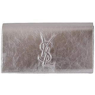 Saint Laurent YSL 361120 SILVER Leather Large Belle de Jour Clutch Handbag - Metallic Grey