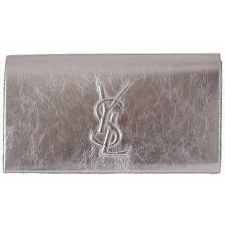"Saint Laurent YSL 361120 Silver Leather Large Belle de Jour Clutch Handbag - Metallic Silver - 11"" x 6"" x 2"""