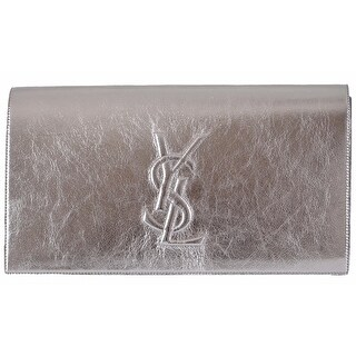 Saint Laurent YSL 361120 Silver Leather Large Belle de Jour Clutch Handbag