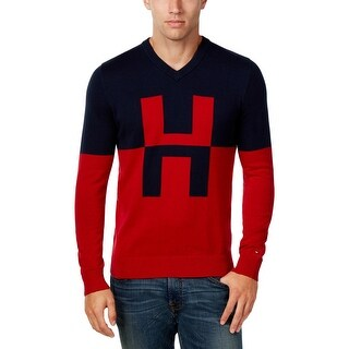 Tommy Hilfiger Mens V-Neck Sweater Colorblock Long Sleeves