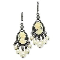Black IP Clear Crystal Fireball Leverback Earrings