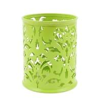Unique Bargains Hollow Flower Design Cylinder Pen Pencil Pot Holder Container Organizer Green
