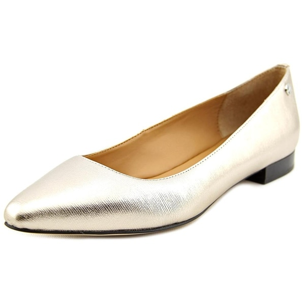 Calvin Klein Elle Women Pointed Toe Synthetic Gold Flats