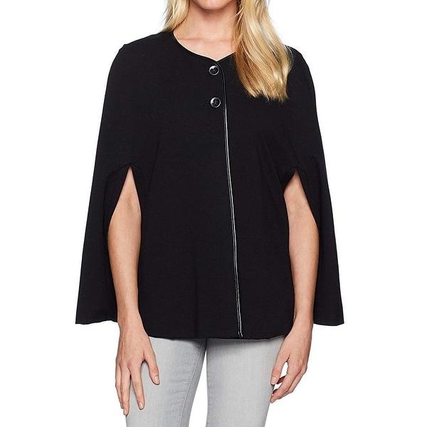 Nine West Black Women's Size Large L Faux-Leather Trim Cape Jacket