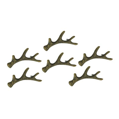 Antique Bronze Finish Cast Iron Deer Antler Drawer Pull Cabinet Handle Set of 6 - 3.25 X 6.25 X 1.5 inches