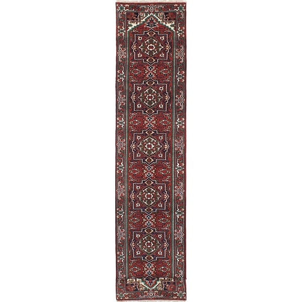 """ECARPETGALLERY Hand-knotted Serapi Heritage Copper, Navy Wool Rug - 2'7"""" x 19'9"""" Runner. Opens flyout."""