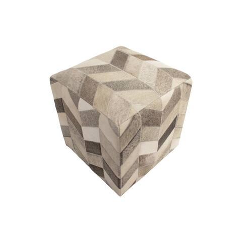 """Noori Home Geometric Hide Pouf Ashton, Grey (18""""x18""""x18"""")"""