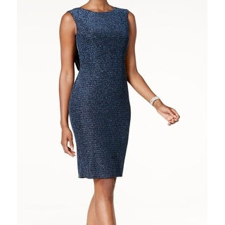 f034852c7c85a Shop Jessica Howard Blue Womens Size 16 Metallic Cowl-Back Sheath Dress -  Free Shipping Today - Overstock - 21421115