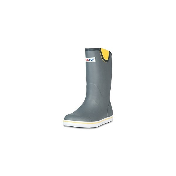 "Xtratuf Men's 12"" Grey Deck Boots w/ Non-Marking Chevron Outsole - Size 14"