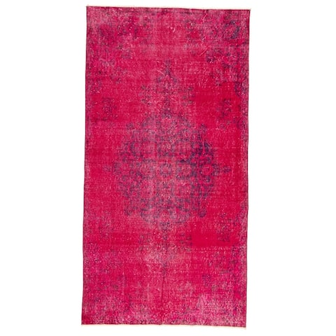 ECARPETGALLERY Hand-knotted Color Transition Dark Magenta Wool Rug - 3'10 x 7'3