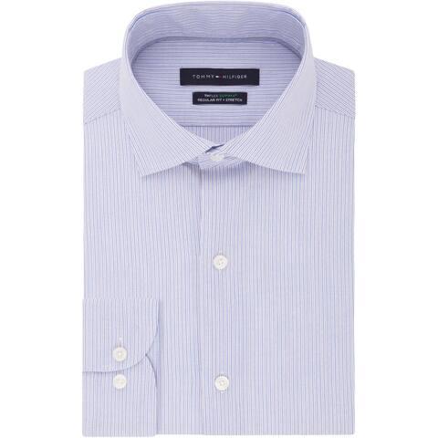 Tommy Hilfiger Mens Big & Tall Dress Shirt Tall Fit Striped - Multi Blue
