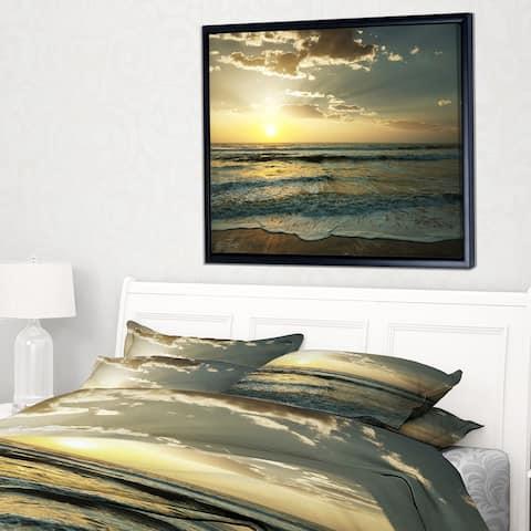 Designart 'Dark Beach and Waves At Sunset' Beach Photo Framed Canvas Print