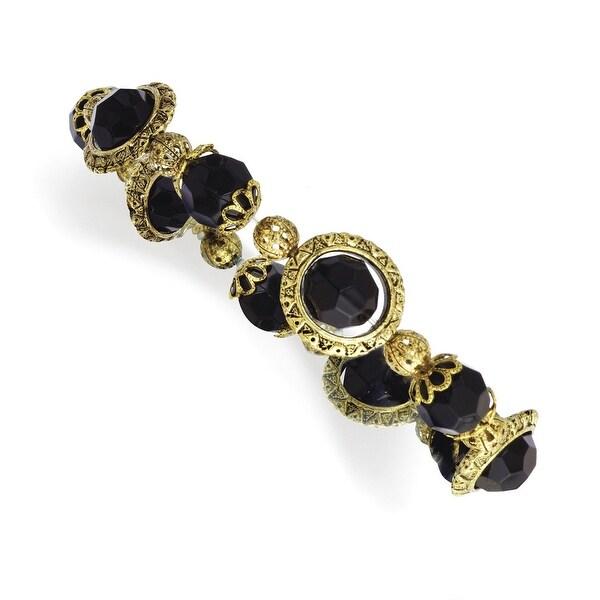 Brass Black Acrylic Beads Stretch Bracelet