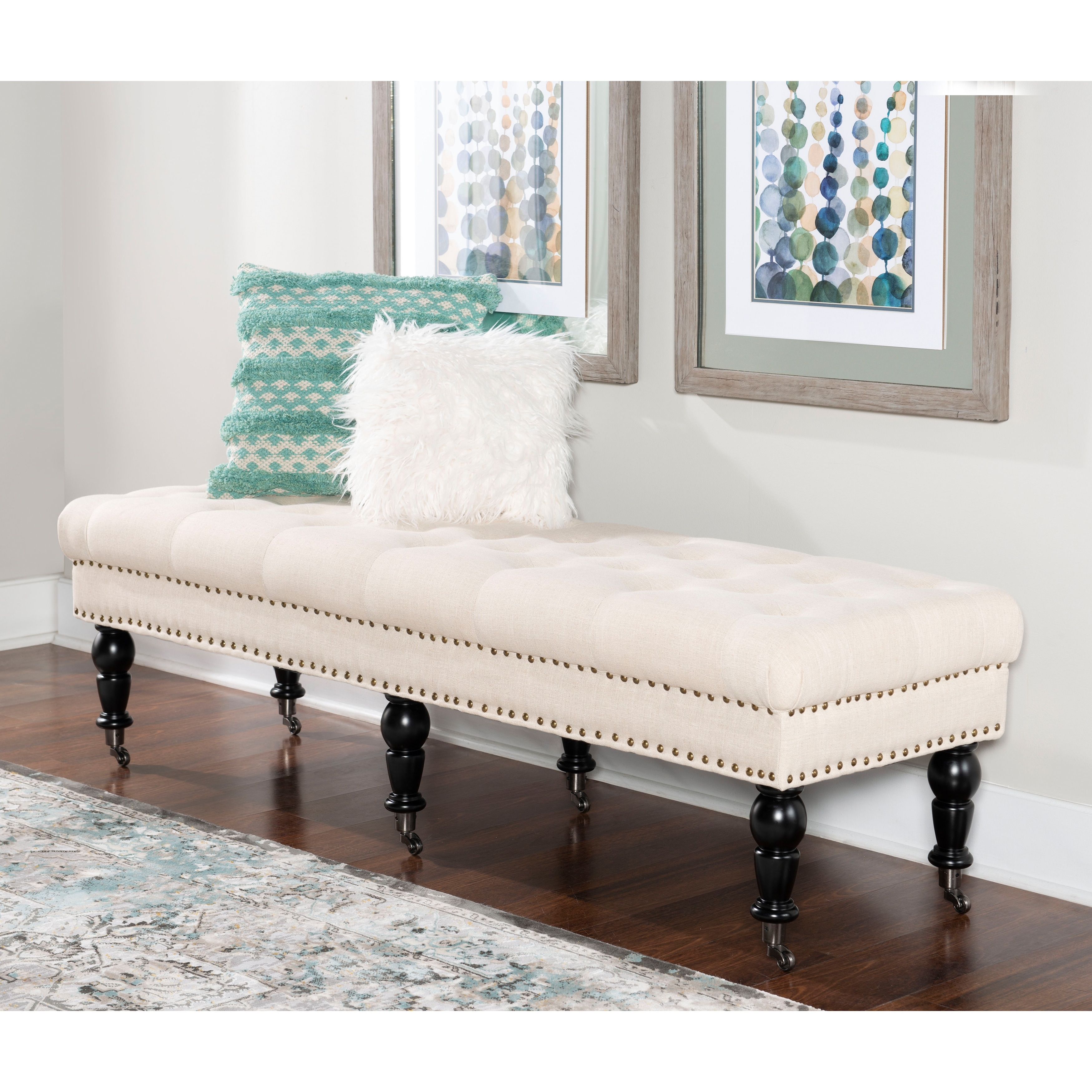 Copper Grove Mendocino Off White Tufted Linen Bench On Sale Overstock 20461298