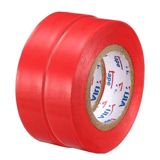 "PVC Electrical Insulating Tape Single Sided 21/32"" Width 49ft 6mil Red 2pcs - 6 mil Thick, Red"