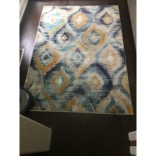 Safavieh Monaco Vintage Watercolor Blue/ Multicolored Distressed Rug (4' x 5' 7)