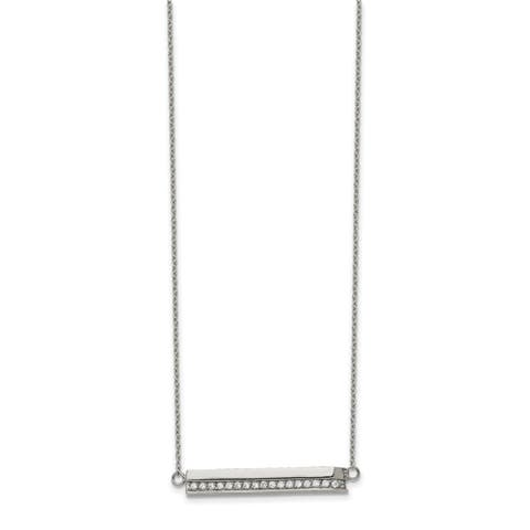 Chisel Stainless Steel Polished with Cubic Zirconia Bar 18-inch with 1-inch Extension Necklace