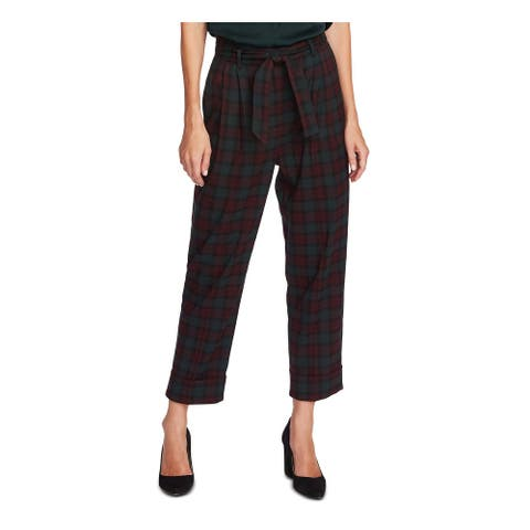 VINCE CAMUTO Womens Green Belted Plaid Cropped Pants Size 2