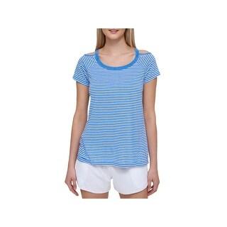 Tommy Hilfiger Womens Pullover Top Striped Cold Shoulder