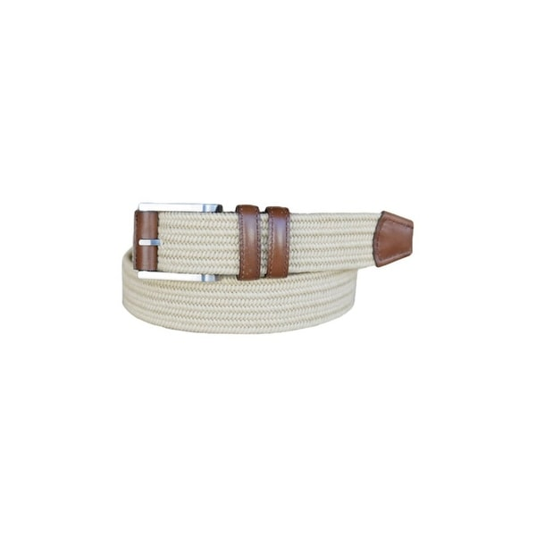 Lejon Belt Mens Charter Cotton Leather Straps Beige