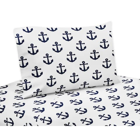 Navy Blue White Anchors 3-piece Twin Sheet Set - Nautical Theme Ocean Sailboat Sea Marine Sailor Anchor Unisex Gender Neutral