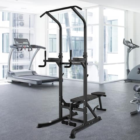 Soozier Exercise Pullup Weight Machine Power Tower with Multiple Adjustable Positions for Strengthening Many Muscles