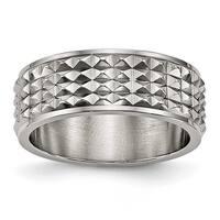 Titanium Polished Studded Ring (8 mm)