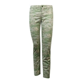 American Living Women's Camo Slimming Fit Jeans - Light Olive