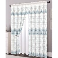 Alexis Embroidered Panel With Attached Valance and Backing, White-Blue, 54x84+18 Inches