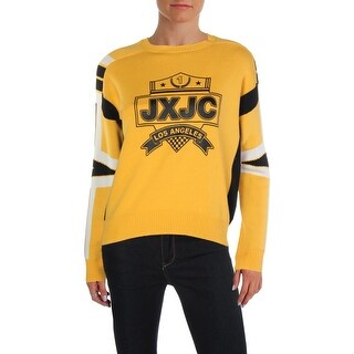 Juicy by Juicy Couture Womens Racer Crest Pullover Sweater Graphic Crew Neck