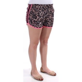 MATERIAL GIRL 1894 Black, Pink Animal Print Cropped Short Juniors L B+B