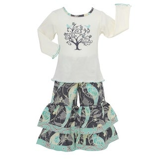 AnnLoren Little Girls Blue White Tree of Life Cotton Shirt and Pants Clothing Set