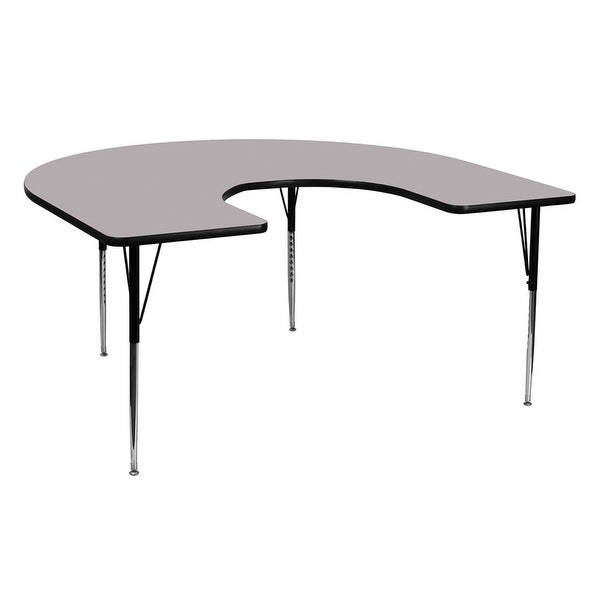 Offex 60''W x 66''L Horseshoe Activity Table with Grey Thermal Fused Laminate Top and Standard Height Adjustable Legs - N/A