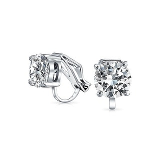 Bling Jewelry Clip On No Piercing Bridal Cz Stud Earrings Rhodium Plated 8mm Free Shipping Orders Over 45 17989872