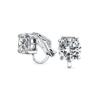 Bling Jewelry Clip On No Piercing Bridal Cz Stud Earrings Rhodium Plated 8mm