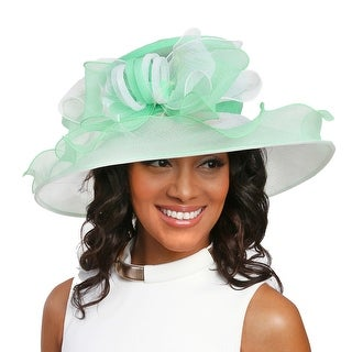 ChicHeadwear Large Brim Two-Tone Ruffle Organza w/ Bow