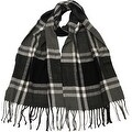 Winter or Fall Cold Weather Irish Plaid Long Cashmere Feel Scarf, Black Grey - Thumbnail 0