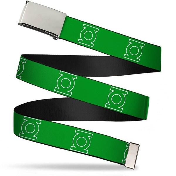 Blank Chrome Bo Buckle Green Lantern Logo Green White Webbing Web Belt