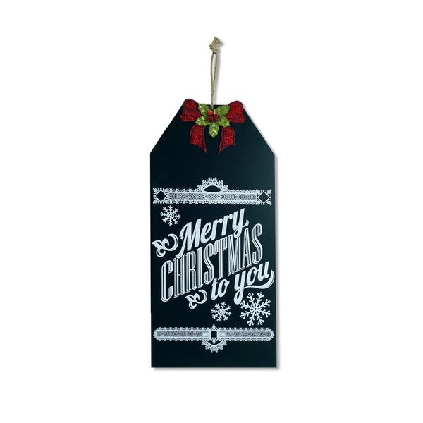 "19.25"" Merry Christmas to You Hanging Chalkboard Sign Holiday Decoration with Bow - black"