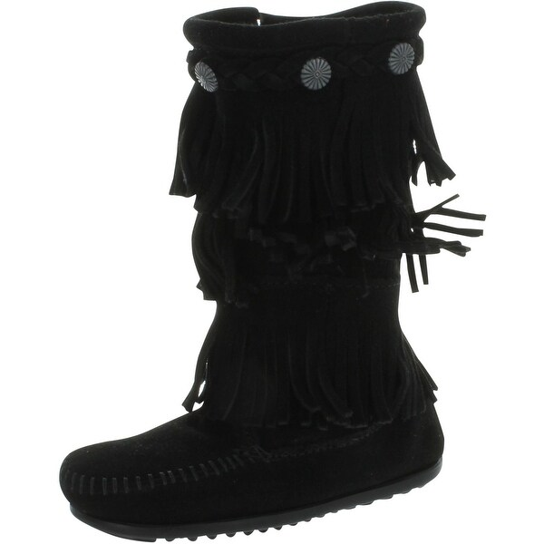 Minnetonka 3-Layer Fringe Bootie - Black Suede - 9 m us toddler