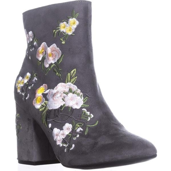 Seven Dials Brystal Block-Heel Boots, Grey/Floral - 8.5 us