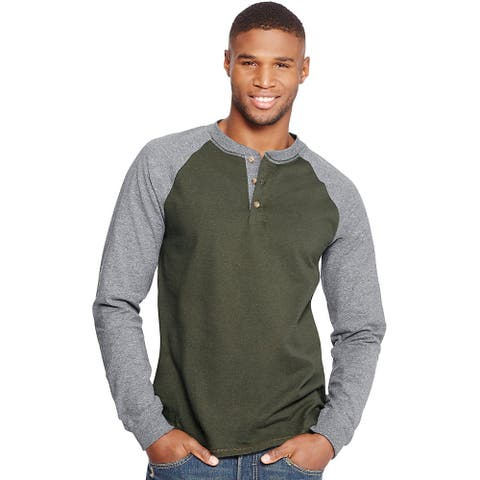Hanes Men's Beefy-T Long-Sleeve Colorblock Henley - Size - L - Color - Camouflage Green/Oxford Gray
