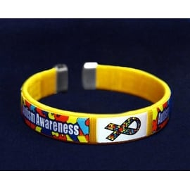 Autism and Asperger Chid Size Ribbon Fabric Bangle Bracelets -Autism Awareness