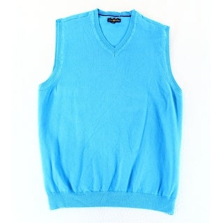 Club Room NEW Blue Mens Size Small S Solid Knit V-Neck Sweater Vest