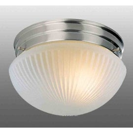 Volume Lighting V7046 1 Light Flush Mount Ceiling Fixture with Frost Ribbed Glass Shade